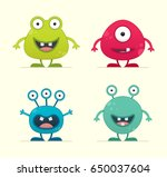 cute creature set   vector... | Shutterstock .eps vector #650037604