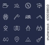set of 16 camping outline icons ... | Shutterstock .eps vector #650038810