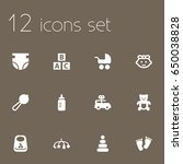 set of 12 baby icons set...   Shutterstock .eps vector #650038828