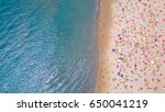tropical beach with colorful... | Shutterstock . vector #650041219