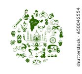 indian icons circle set  vector ... | Shutterstock .eps vector #650042554