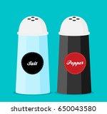 pepper and salt shaker set flat ... | Shutterstock .eps vector #650043580