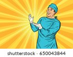 doctor surgeon after the... | Shutterstock .eps vector #650043844