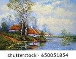 ukrainian landscape  oil... | Shutterstock . vector #650051854