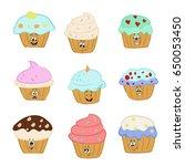 cupcake set | Shutterstock .eps vector #650053450