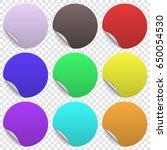 set of round paper sticker... | Shutterstock .eps vector #650054530