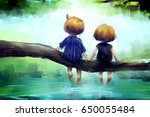 digital painting of young... | Shutterstock . vector #650055484