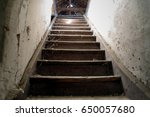 Old Damaged Wooden Stairs To...