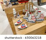 wooden toy ships for sell in... | Shutterstock . vector #650063218