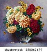 still life flowers  oil... | Shutterstock . vector #650063674