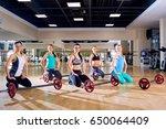 group training. girls sitting... | Shutterstock . vector #650064409