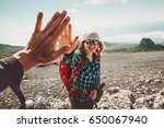 happy friends giving five hands ... | Shutterstock . vector #650067940