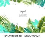 background with tropical leaves.... | Shutterstock .eps vector #650070424