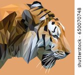tiger low poly design. triangle ... | Shutterstock .eps vector #650070748