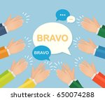 clapping hands with speech... | Shutterstock .eps vector #650074288