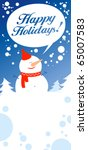 Christmas card with snowman talking Happy Holidays. - stock vector