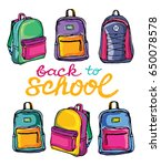 hand drawn doodle backpack.... | Shutterstock .eps vector #650078578