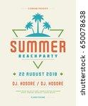 retro summer party design... | Shutterstock .eps vector #650078638