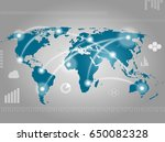 earth map with communications | Shutterstock . vector #650082328
