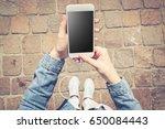 overhead shot of fashionable...   Shutterstock . vector #650084443
