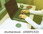 business documents on office... | Shutterstock . vector #650091523