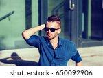 close up portrait fashion male...   Shutterstock . vector #650092906