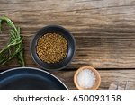 coriander seeds  salt and... | Shutterstock . vector #650093158