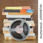 vintage magnetic audio tapes ...   Shutterstock . vector #650098744
