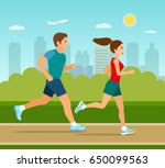 young man and woman jogging in... | Shutterstock .eps vector #650099563