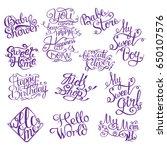 set for baby shower. hand drawn ... | Shutterstock .eps vector #650107576