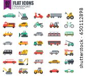Simple Set Of Transport Flat...