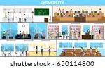 university interior set. | Shutterstock . vector #650114800