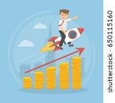 businessman on the rocket.   Shutterstock . vector #650115160
