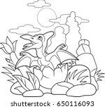 cartoon cute pterodactyl... | Shutterstock .eps vector #650116093