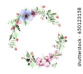 wreath of watercolor... | Shutterstock . vector #650123158