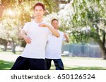 people practicing thai chi in... | Shutterstock . vector #650126524