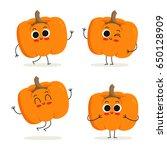 pumpkin. cute cartoon vegetable ... | Shutterstock .eps vector #650128909
