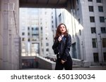 fashion hipster woman posing... | Shutterstock . vector #650130034