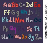 hand drawn alphabet. brush... | Shutterstock . vector #650131054