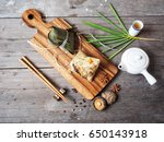 zongzi with hot tea chinese food | Shutterstock . vector #650143918