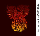 tattoo with flaming phoenix in... | Shutterstock .eps vector #650154844