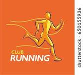 vector logo runner line athlete ... | Shutterstock .eps vector #650155936