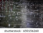Drop Rain On Floor In Rainy...