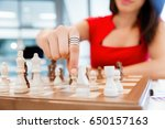 business woman sitting in front ... | Shutterstock . vector #650157163