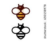 cartoon bee logo design in... | Shutterstock .eps vector #650158978