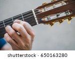 hand on guitar mast  | Shutterstock . vector #650163280