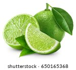 limes isolated with leaf on... | Shutterstock . vector #650165368