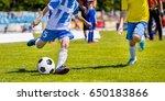 running youth soccer football...   Shutterstock . vector #650183866
