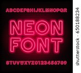 neon tube alphabet font. red... | Shutterstock .eps vector #650188234