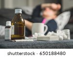sick woman holding head and... | Shutterstock . vector #650188480